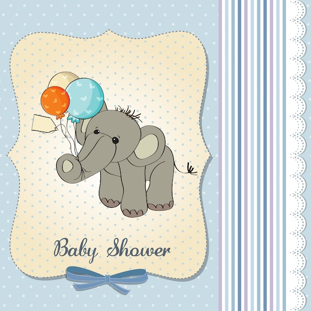 Baby boy shower card with elephant and balloons Premium Vector