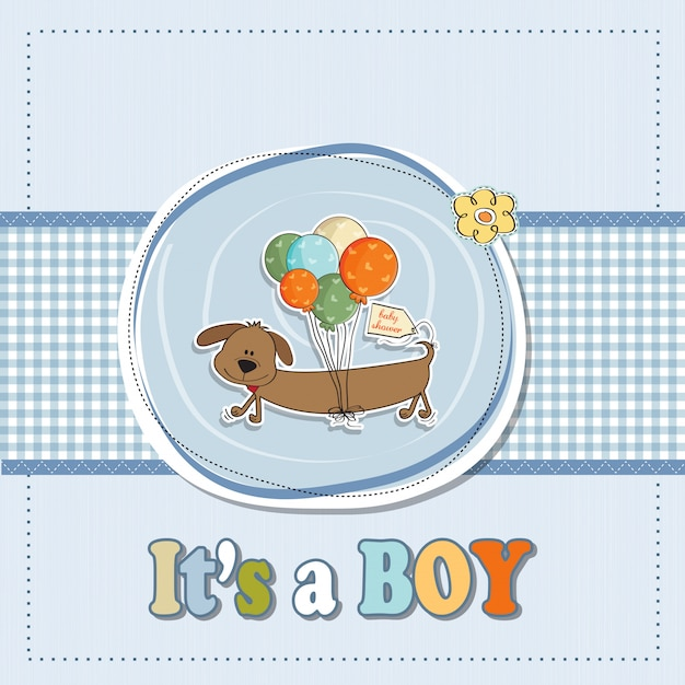 Baby boy shower card with long dog and balloons Premium Vector