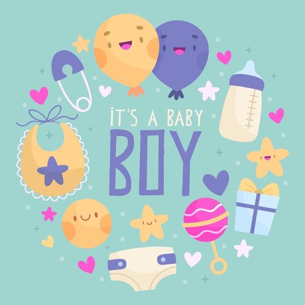 Evento doccia baby boy Vettore gratuito