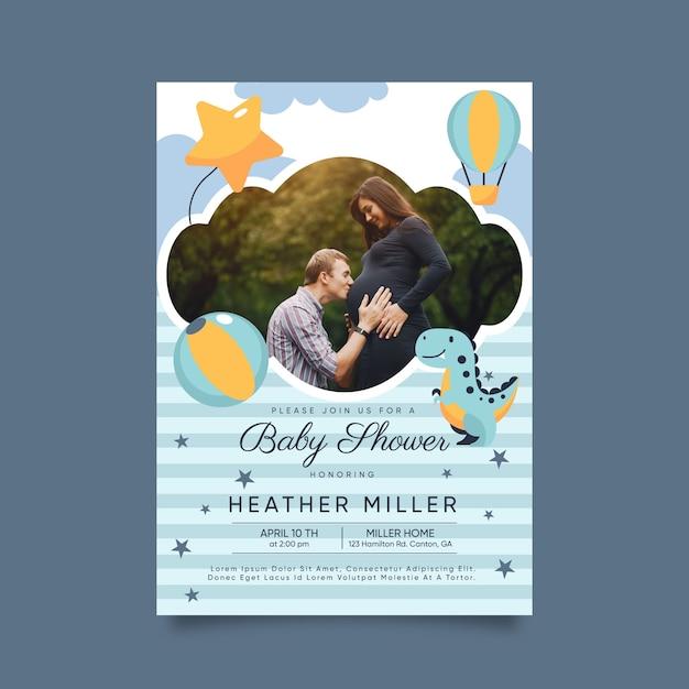 赤ちゃん男の子シャワー招待状テンプレートコンセプト 無料ベクター
