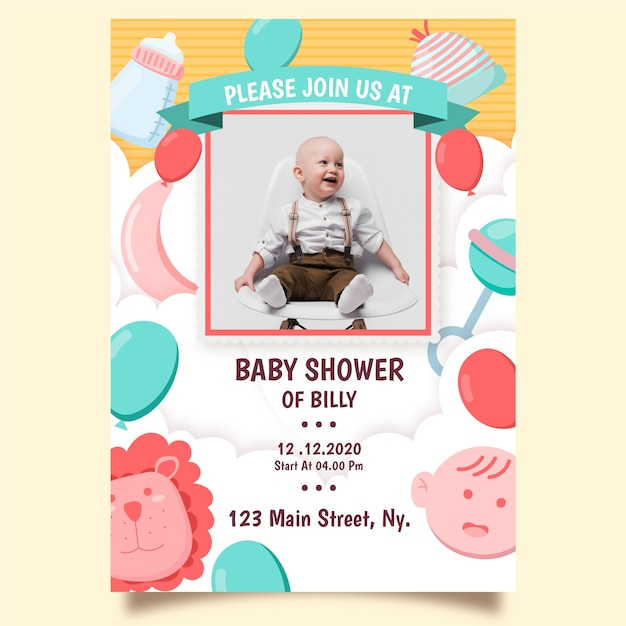 Baby boy shower invitation template theme Free Vector
