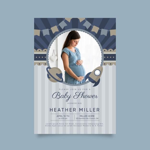 Baby boy shower invitation template Premium Vector