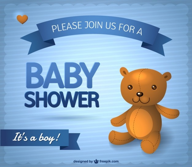 Baby Boy Shower Invitation Free Vector