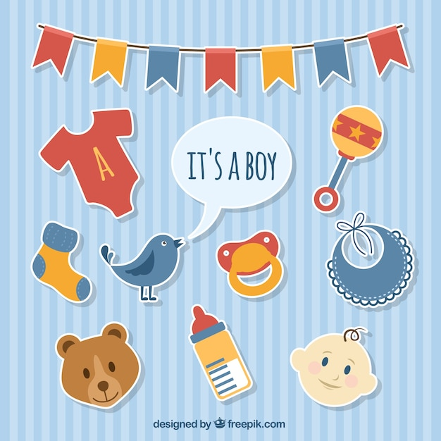 Baby boy stickers Vector | Free Download
