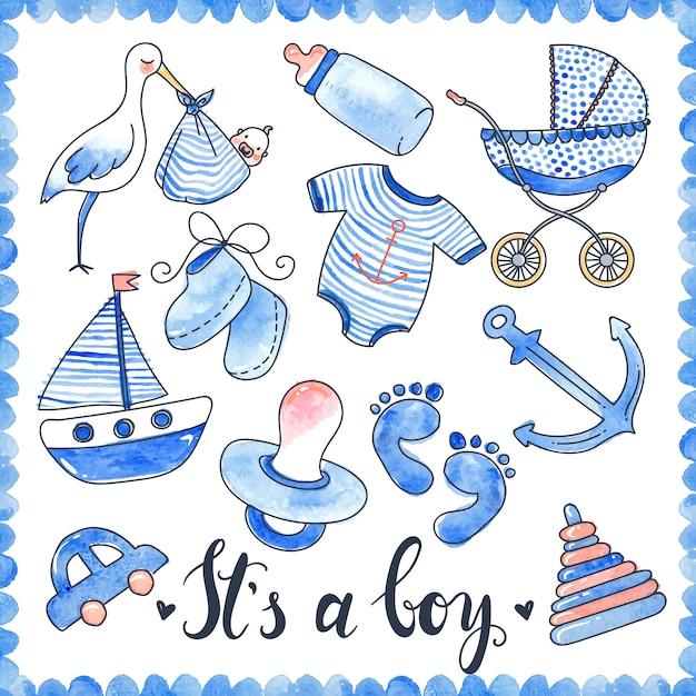 Baby boy watercolor elements set Free Vector