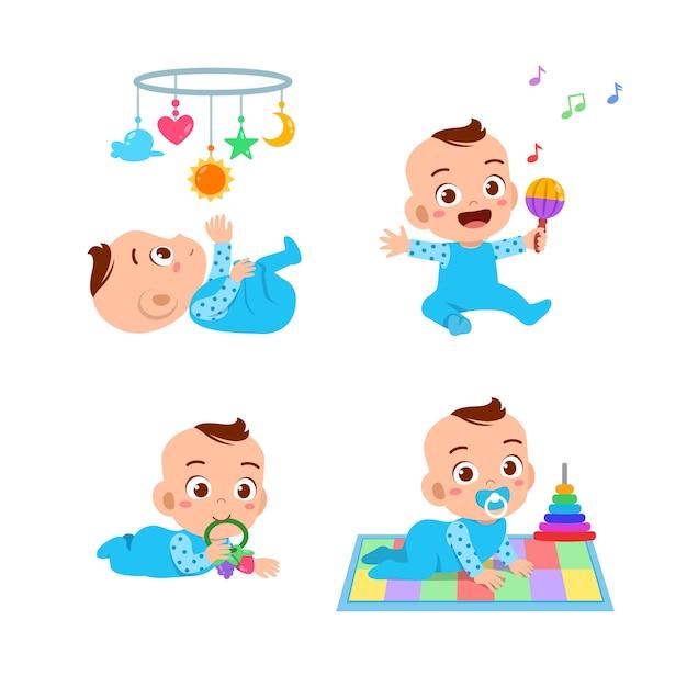 Baby boy with toys set Premium Vector