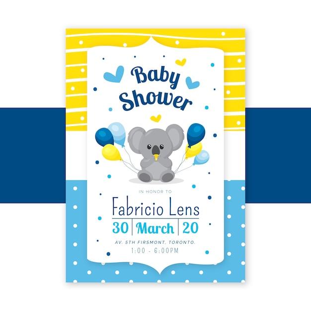 Baby boy душ приглашение Бесплатные векторы