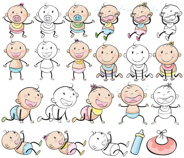 Baby boys and girls in different posts\ illustration