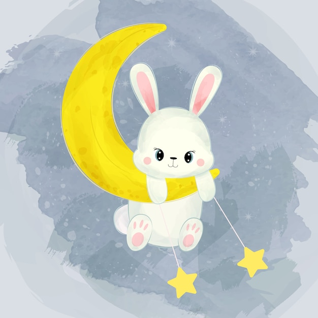 Baby bunny playing with the moon and stars Premium Vector