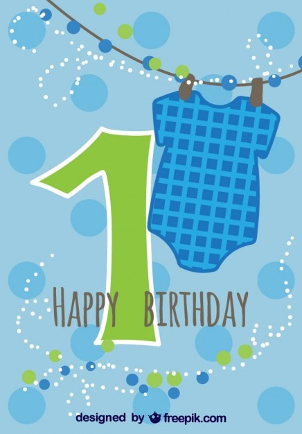 Baby card first birthday | Free Vector
