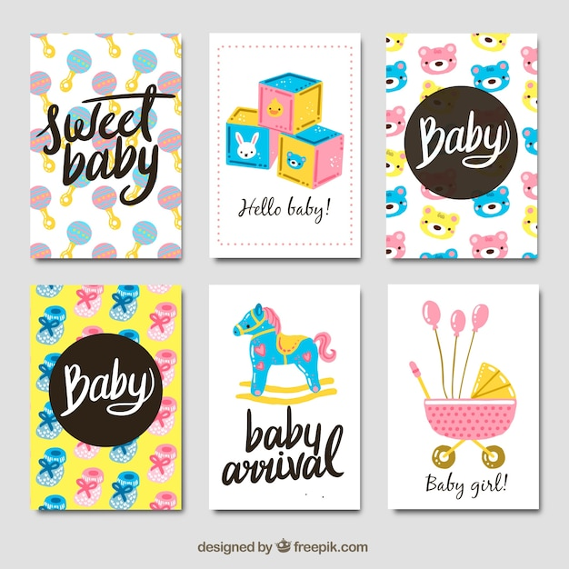 Baby cards collection in hand drawn\ style