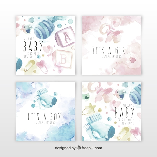 Baby cards collection in watercolor style Free Vector