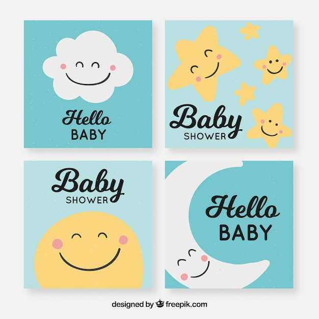 Baby cards collection with cute elements Free Vector