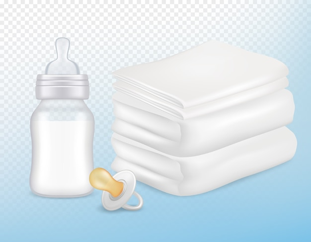 Baby care accessories set. realistic illustration of white towels, pacifier, newborn baby milk bottle with silicone nipple isolated on transparent background. Premium Vector