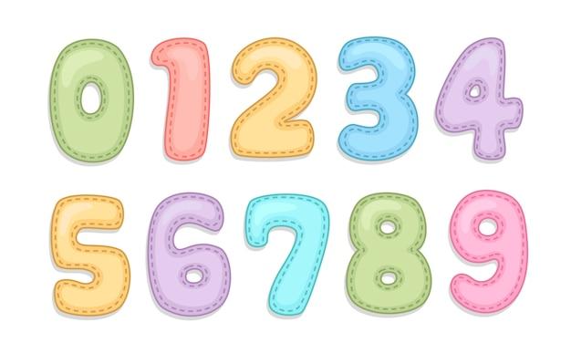 Baby care alphabet numbers Premium Vector