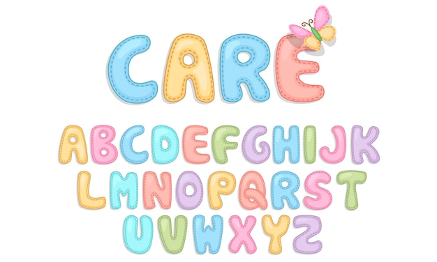 Baby care alphabets Premium Vector