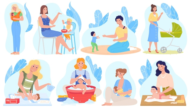 Baby care, breastfeeding  illustrations, cartoon  set with mother character breastfeed, giving newborn baby milk, feeding playing Premium Vector