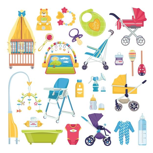 赤ちゃんケアオブジェクト、新生児アクセサリーイラストセット。赤ちゃんの要素を持つ女の子のためのかわいいスクラップブック。哺乳瓶、おしゃぶり、衣類、バス、誕生日プレゼント。出産のための赤ちゃんのコレクション。 Premiumベクター