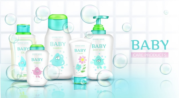 Baby care products, cosmetics bottles with kids cartoon Free Vector