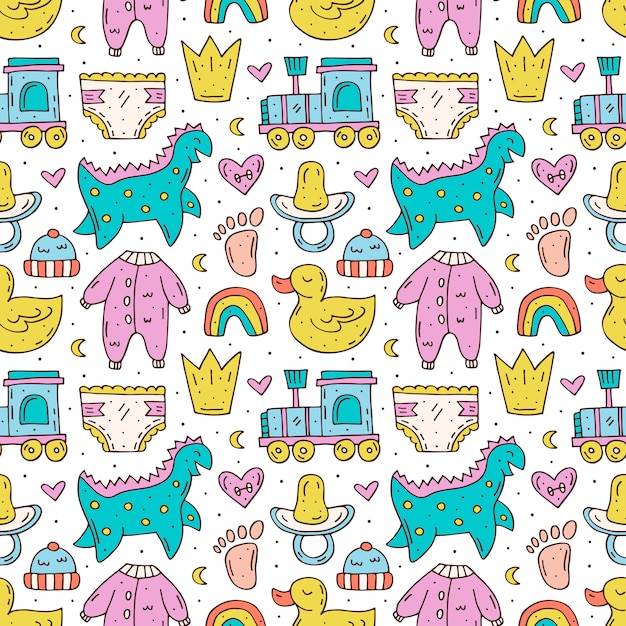 Baby care stuff, clothes, toys cartoon seamless pattern Premium Vector