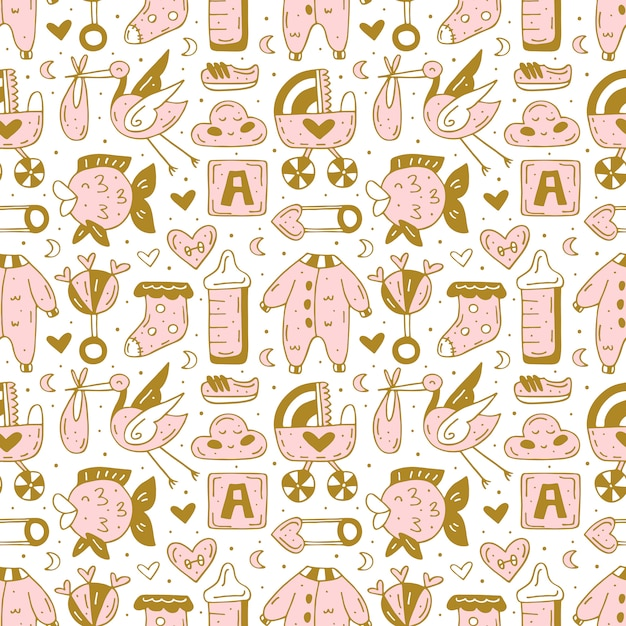Baby care stuff, clothes, toys hand drawn seamless pattern