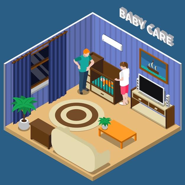 Baby care изометрическая композиция Бесплатные векторы
