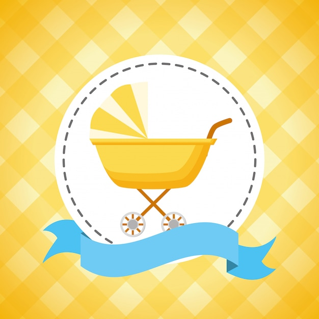 Baby carriage decoration for baby shower card Free Vector