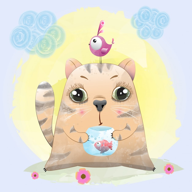 Baby cat cute character painted with watercolor Premium Vector