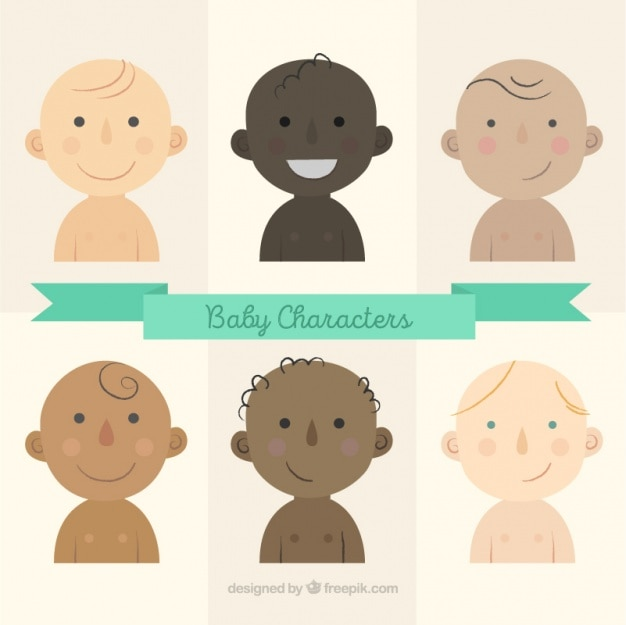 Baby character collection Free Vector