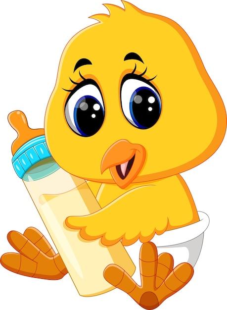Baby chicken holding milk bottle Premium Vector