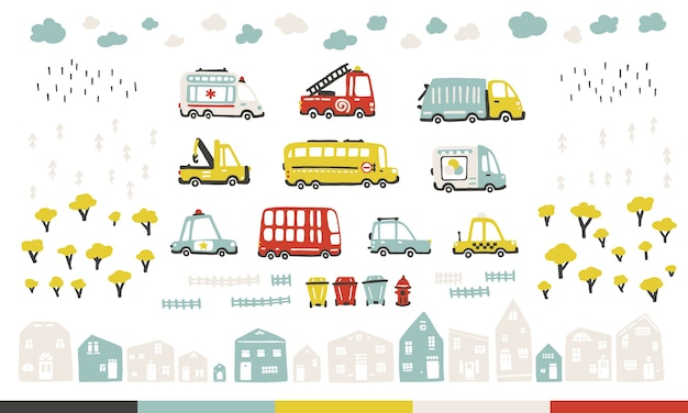 Baby city cars set with cute houses and trees. funny transport. cartoon illustration in simple childish hand-drawn scandinavian style for kids. Premium Vector