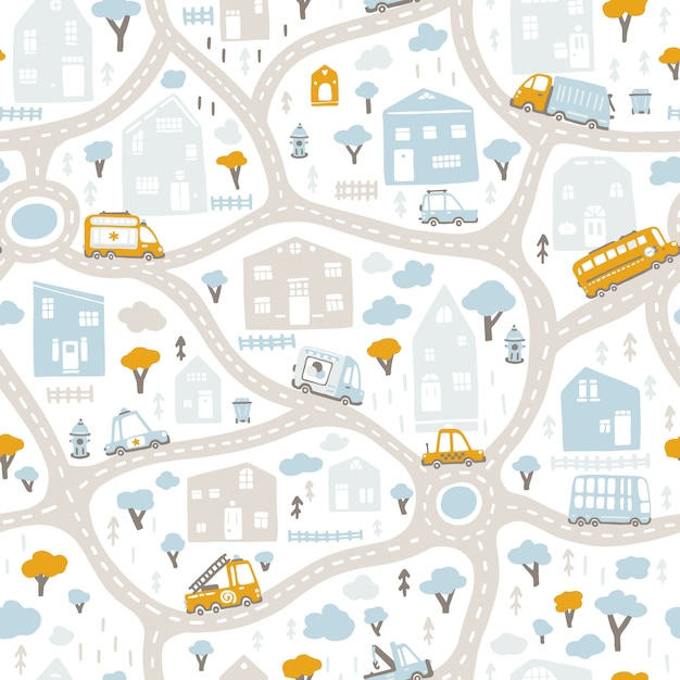 Baby city map with roads and transport. seamless pattern. cartoon illustration in childish hand-drawn scandinavian style. for nursery room, textile, wallpaper, packaging, clothing, etc Premium Vector