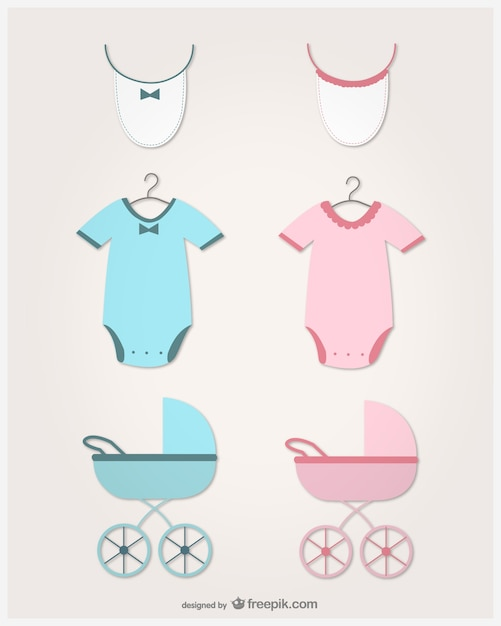 Baby clothes, bibs and carriages in pink and blue Free Vector
