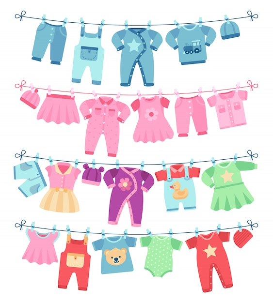 Baby clothes drying on clothesline vector illustration Premium Vector