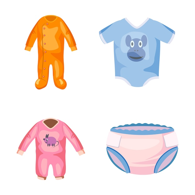 Baby clothes elements set. cartoon set of baby clothes ...