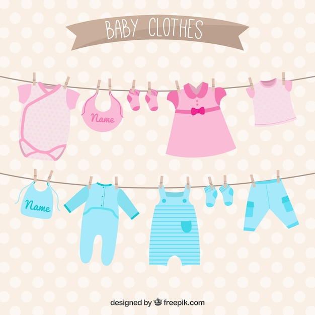 bf6be9d2a Baby clothes hanging on a rope Vector