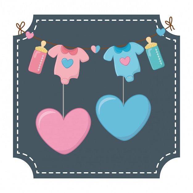 Baby clothes and hearts vector illustration Vector ...