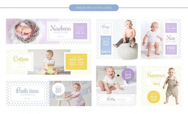 Baby clothes sale banners set Premium Vector