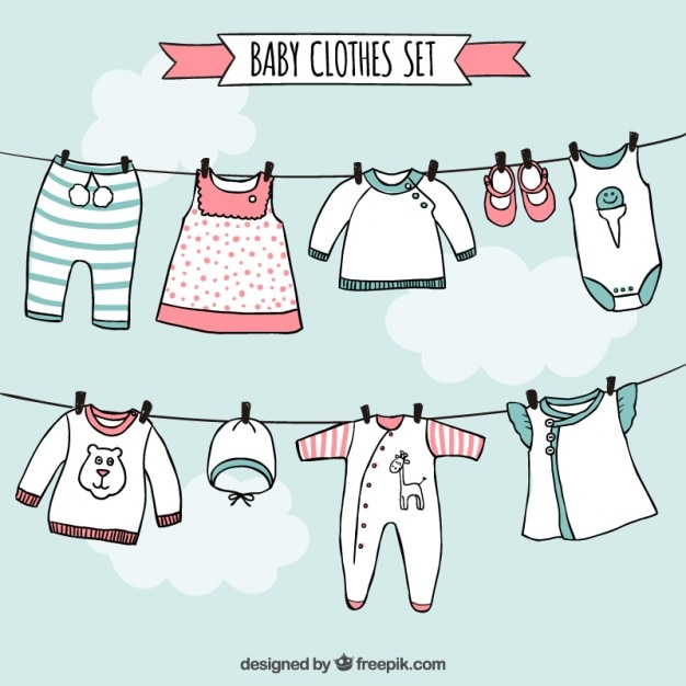 Baby clothes set in hand drawn style