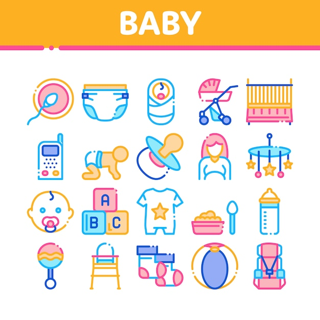 Baby clothes and tools collection icons set Premium Vector