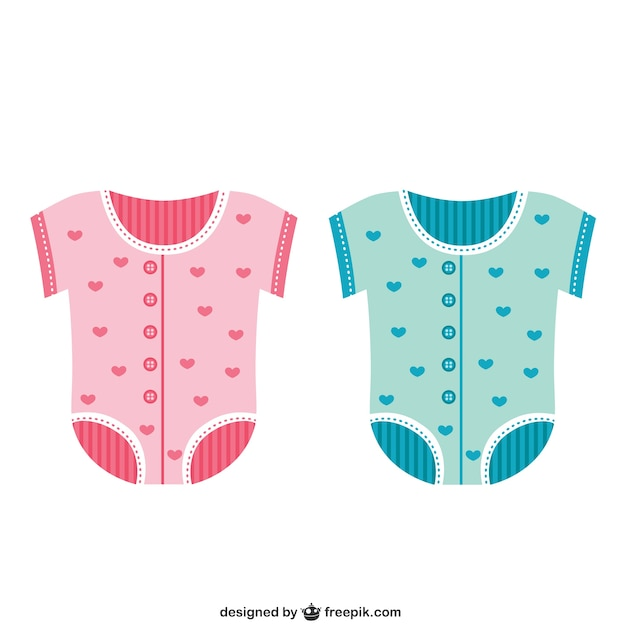 Baby clothing in pink and blue colors