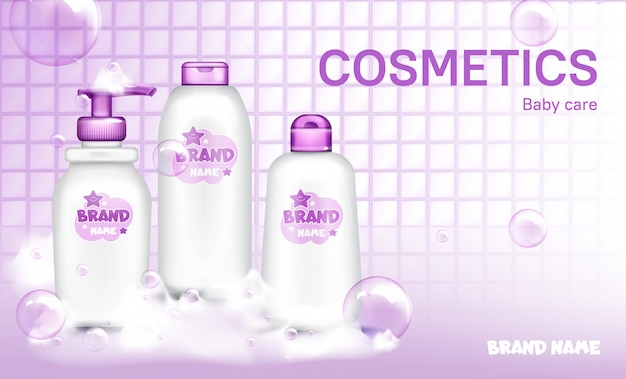 Baby cosmetic bottle design soap bubbles realistic Free Vector