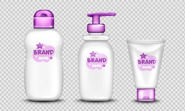 Baby cosmetics package cute design set realistic Free Vector