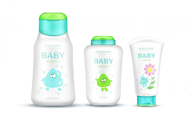 Baby cosmetics package set for kids Free Vector