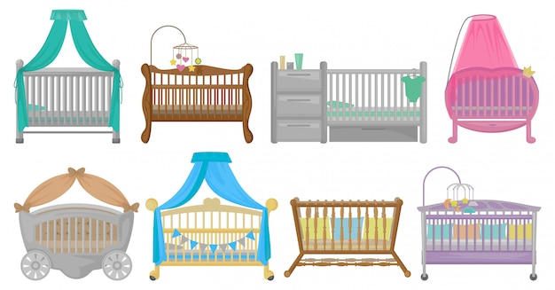 Baby cot illustration on white background. cartoon set icon crib bed. Premium Vector