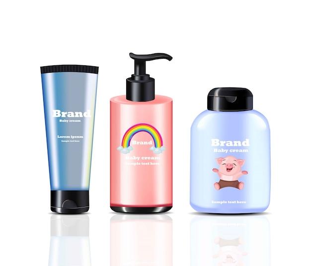 Baby крем и спрей вектор реалистичной косметики. дизайн этикетки продукта Premium векторы
