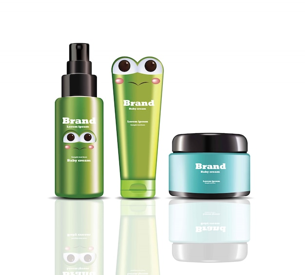 Baby крем и спрей вектор реалистичной косметики. дизайн этикетки продуктов Premium векторы