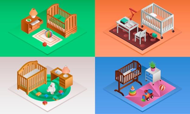 Baby crib set. isometric set of baby crib Premium Vector