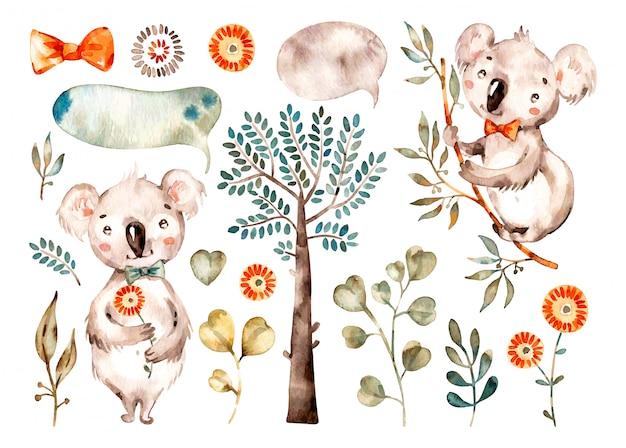 Детская милая коала. акварель питомник мультфильмов австралийских животных, тропические деревья, листья. Premium векторы