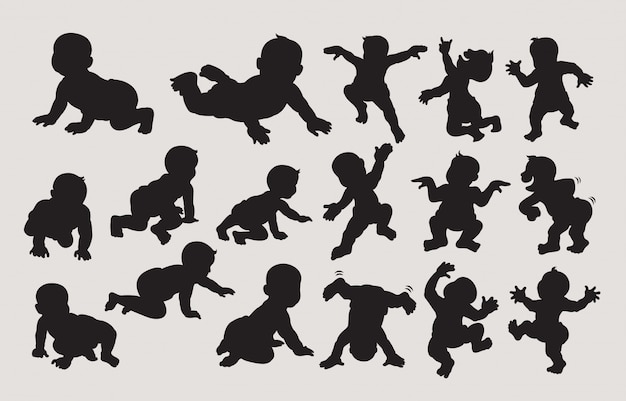 Baby dancing and crawling silhouette Premium Vector